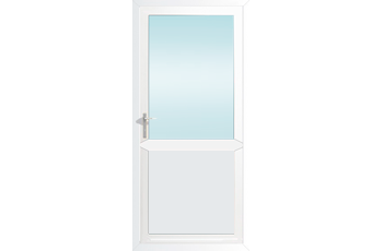 Plain White Door white aluminium door with midrail and plain panel, 890mm wide