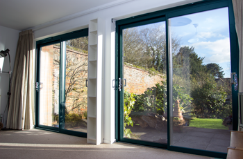 Grey Aluminium Stock Sliding Patio Door In Smart Systems
