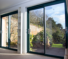 two aluminium sliding patio door grey