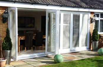 7 pane folding door made from liniar rehai profile in scheme 716 with siegenia FS portal gearing and hardware