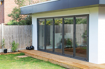 Aluminium Grey Folding Sliding Stock Bifold Door 16 Ft