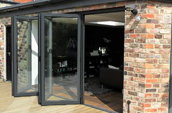 Aluminium Grey Folding Sliding Stock Bifold Door 14 Ft