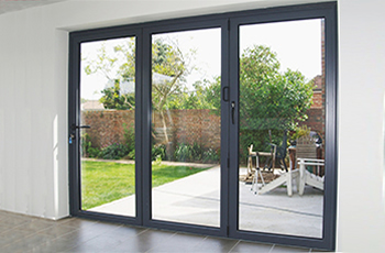 Grey aluminium folding sliding stock bifold door 6 ft for Sliding glass doors 9ft