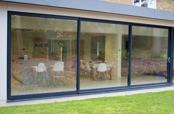 Grey Aluminium sliding patio door, 10 ft, foot, three pane 2990mm ...
