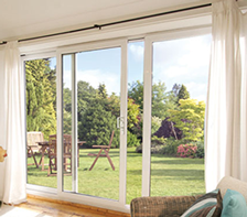 Aluminium stock sliding patio doors in white delivered in for White sliding patio doors