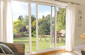 White Aluminium sliding patio door, 12 ft, foot, three pane 3590mm ...