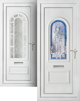 UPVC-PVC front and back double door in liniar profile
