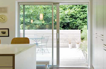 White Aluminium sliding patio door, 8 ft, foot, two pane 2390mm x ...