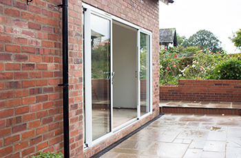 White aluminium sliding patio door 14 ft foot four pane for White sliding patio doors